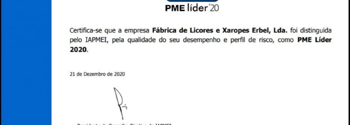 Erbel, Lda. distinguida como PME Líder 2020